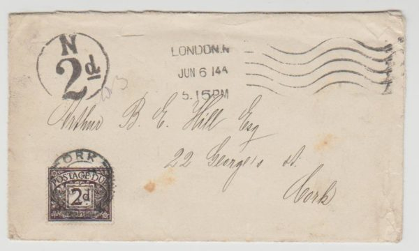London to Ireland Postage Due 1914