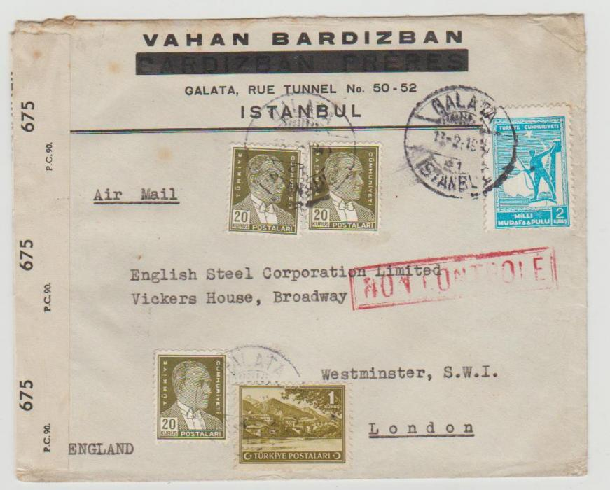 Turkey to London 1945 censored