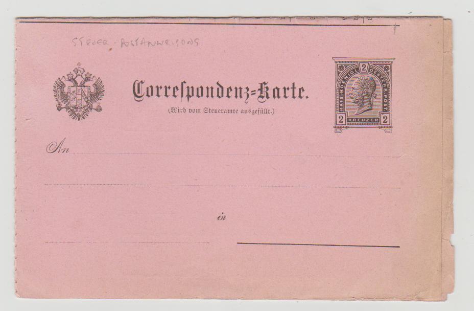Austria 4-fold Postanweisung PS card c 1880