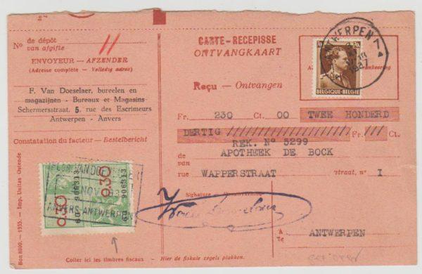 Belgium parcel card