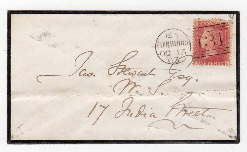 SCOTLAND - EDINBURGH: 1863 PENNY RED PLATE 48 COVER.
