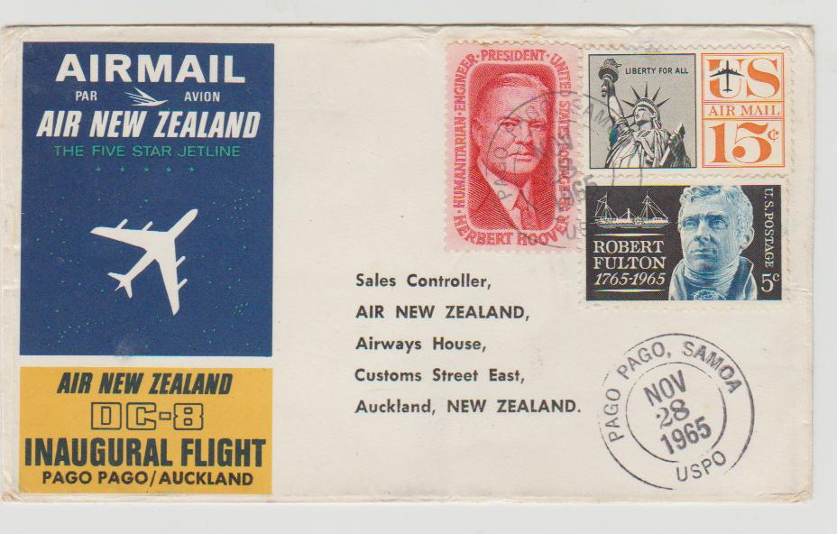 Samoa / USA first flight to NZ
