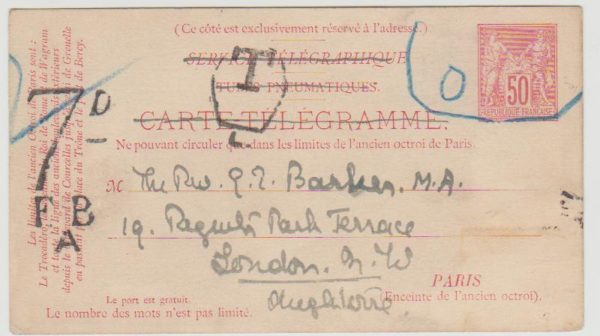 France pneumatic card underfranked to GB