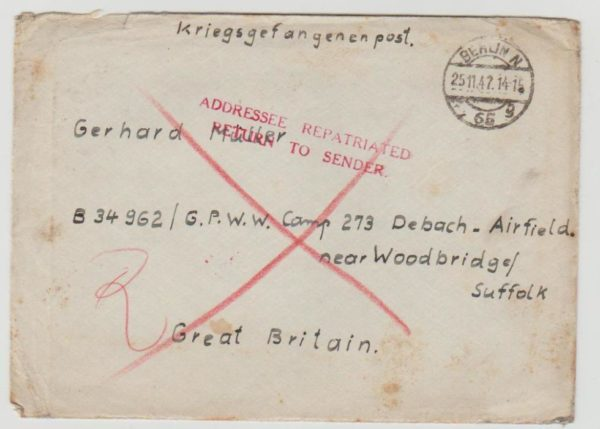 Letter to POW in Suffolk 1947