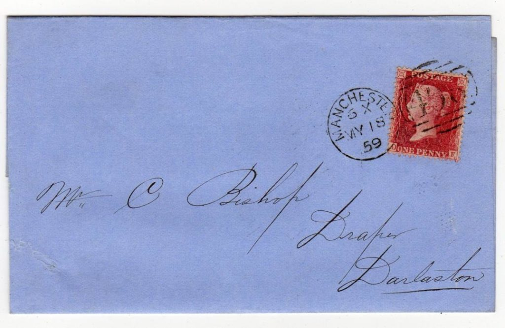 GB - MANCHESTER: 1859 PENNY RED ENTIRE WITH DUPLEX POSTMARK.