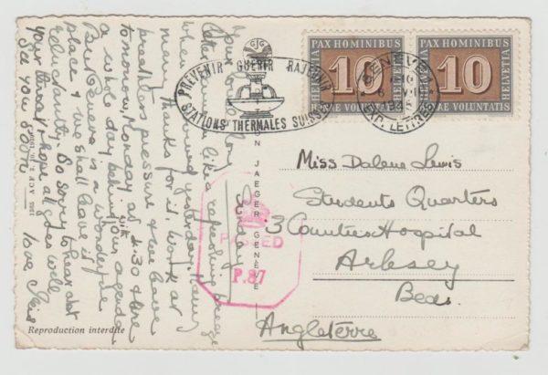 Switzerland censored Postcard to GB 1945