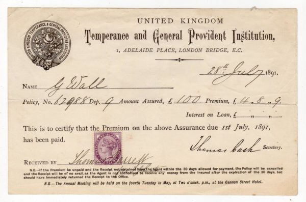 GB - LONDON: 1891 INSURANCE CERTIFICATE WITH TAX STAMP.