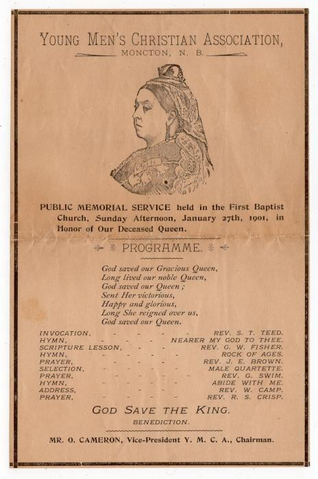 CANADA: 1901 MEMORIAL SERVICE PROGRAMME FOR THE LATE QUEEN VICTORIA.