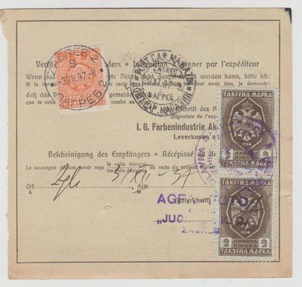Yugoslavia Parcel Card 1937