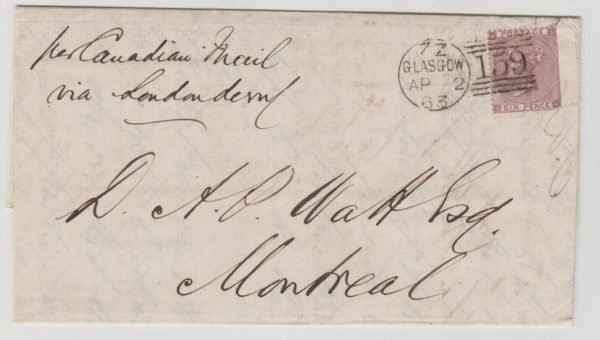 GB 6d rate Glasgow to Canada 1863