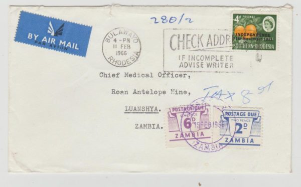 Rhodesia UDI era cover to Zambia with Postage Due