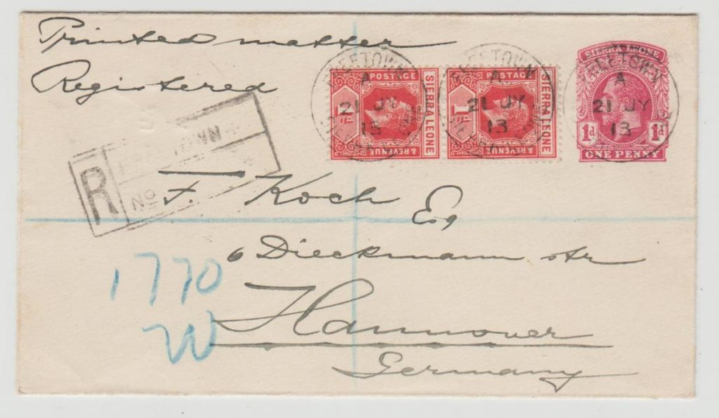 Sierra Leone registered to Germany 1913