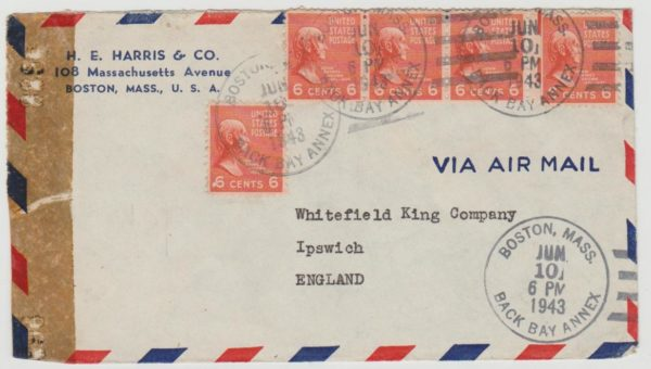 USA Airmail to England 1943