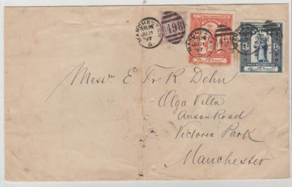 Manchester local mail 1897 with Charity Labels