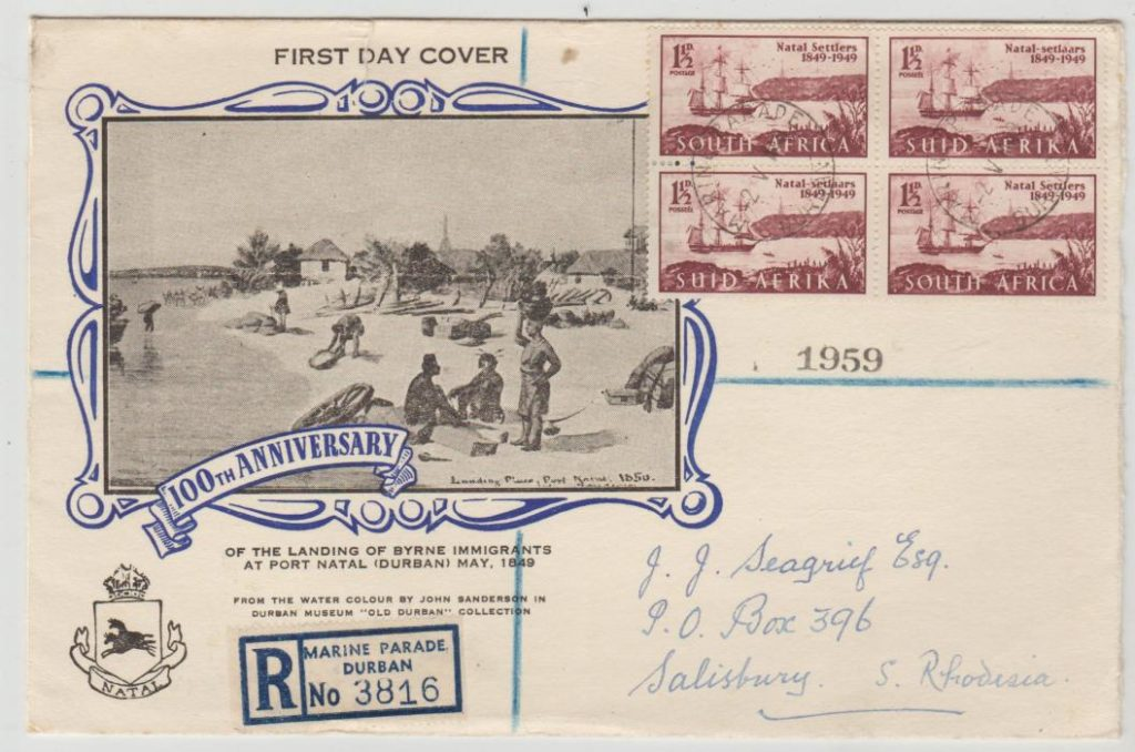 South Africa Natal settlers FDC 1949