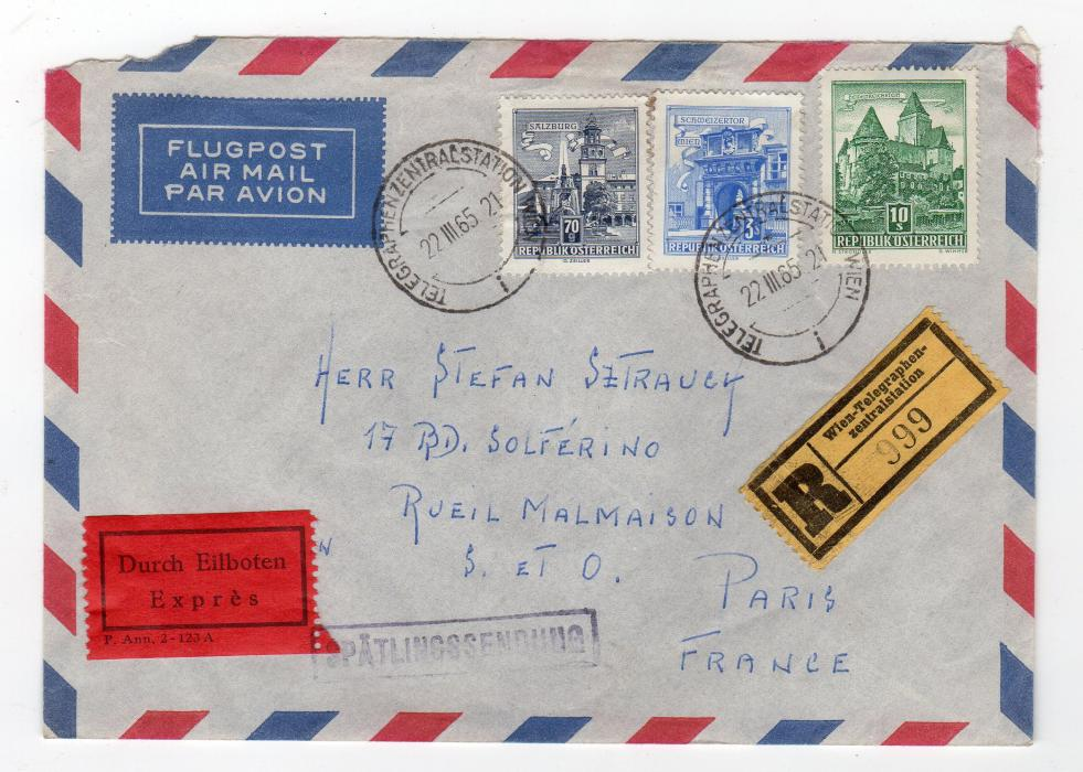 AUSTRIA: 1965 REGISTERED EXPRESS AIRMAIL COVER TO FRANCE.