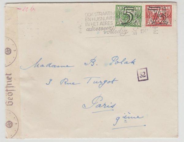 Holland to Paris 1941 censored