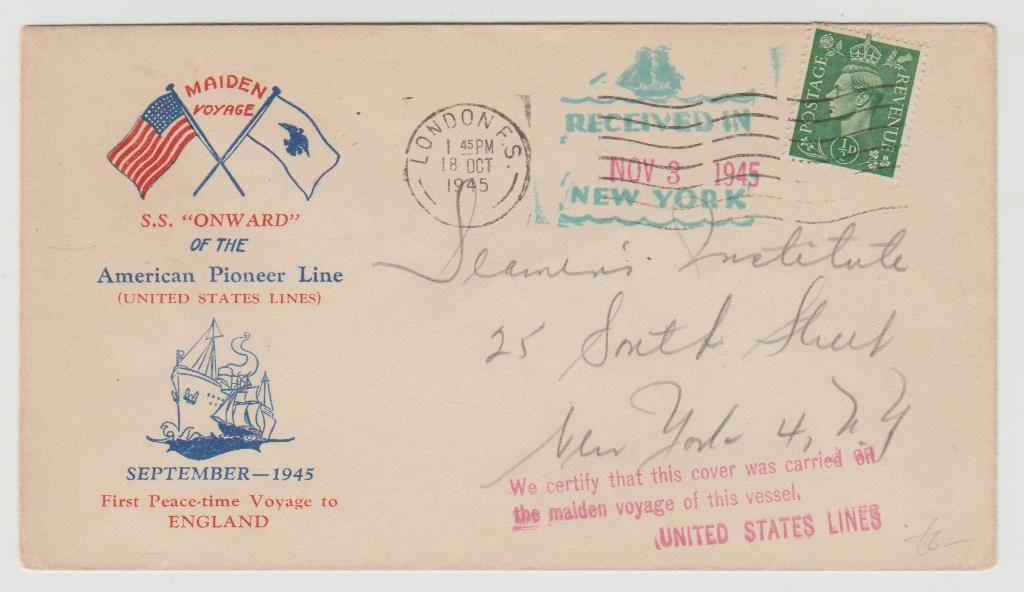 GB KGVI ½ d First Peacetime Voyage S.S. Onward 1945