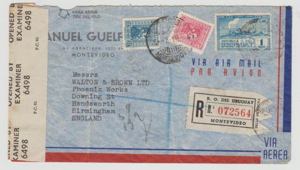Uruguay registered airmail censored 1944