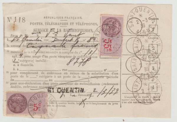 France radio licence with fiscal stamp
