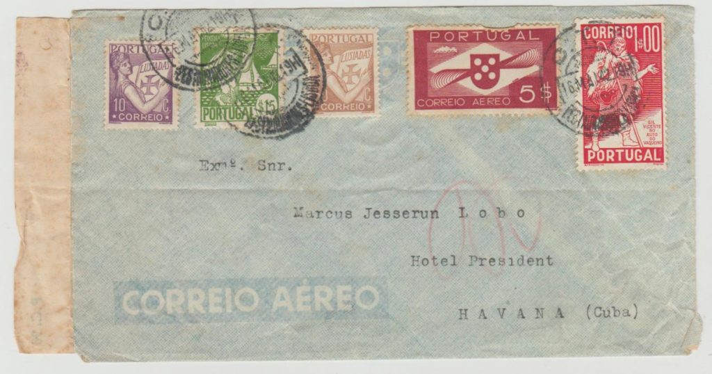 Portugal to Cuba 1942 censored