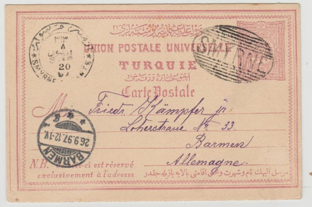 Turkey PS card Smyrna to Germany 1897