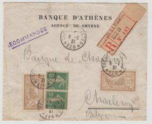 French Post Office in Smyrna to Belgium registered 1921