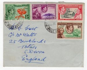 PITCAIRN ISLANDS: 1953 COVER TO ENGLAND.