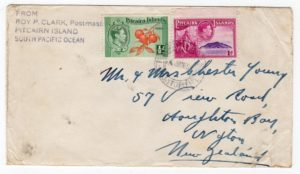PITCAIRN ISLANDS: KGVI COVER TO NEW ZEALAND.