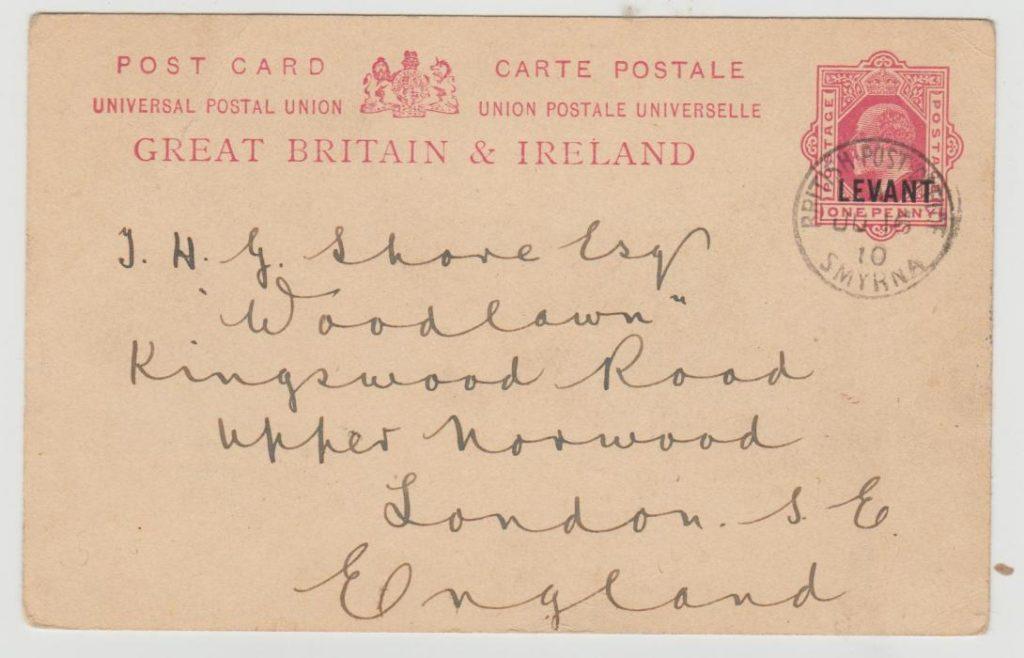 British Levant Smyrna to London 1910