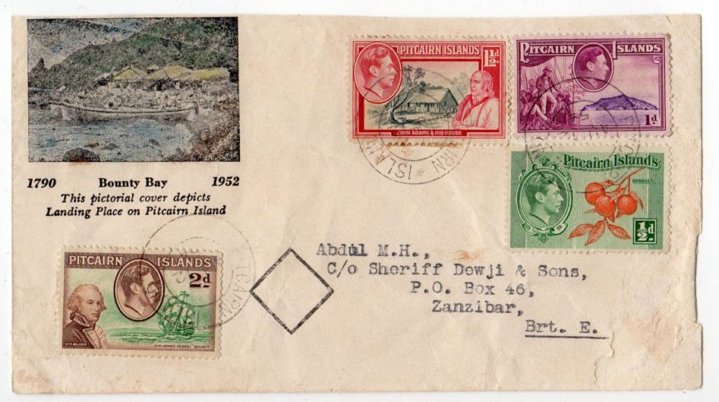 PITCAIRN ISLANDS: 1954 COVER TO ZANZIBAR WITH INSPECTOR'S MARK.