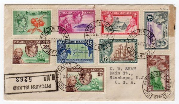 PITCAIRN ISLANDS: 1940 REGISTERED FIRST DAY COVER TO USA.