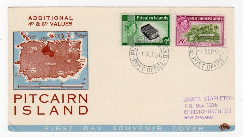 PITCAIRN ISLAND: 1951 FIRST DAY COVER TO NEW ZEALAND.