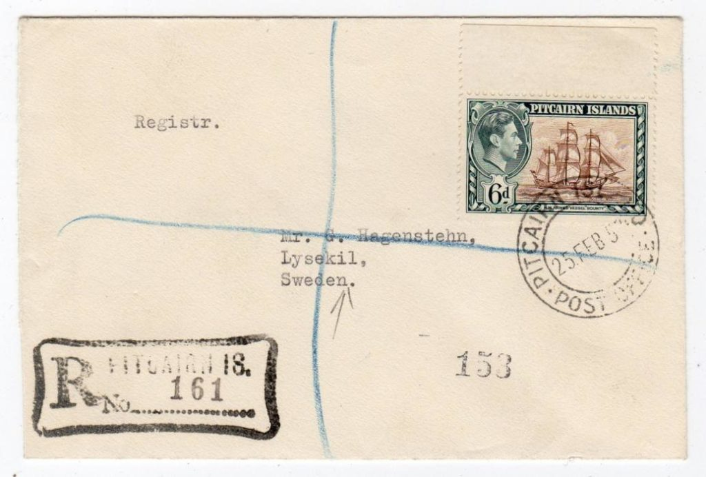 PITCAIRN ISLANDS: 1953 REGISTERED COVER TO SWEDEN.