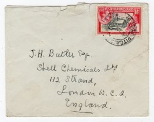 PITCAIRN ISLANDS: 1949 COVER TO LONDON.
