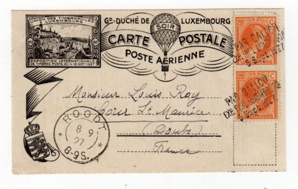 LUXEMBOURG: 1927 EXHIBITION POSTCARD CARRIED BY BALLOON.