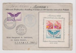SWITZERLAND PHILATELIC EXHIBITION MINI-SHEET 1938 ON SPECIAL ENVELOPE