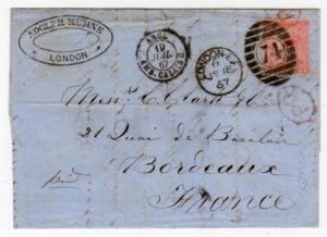GB - LONDON: 1867 ENTIRE LETTER TO FRANCE.