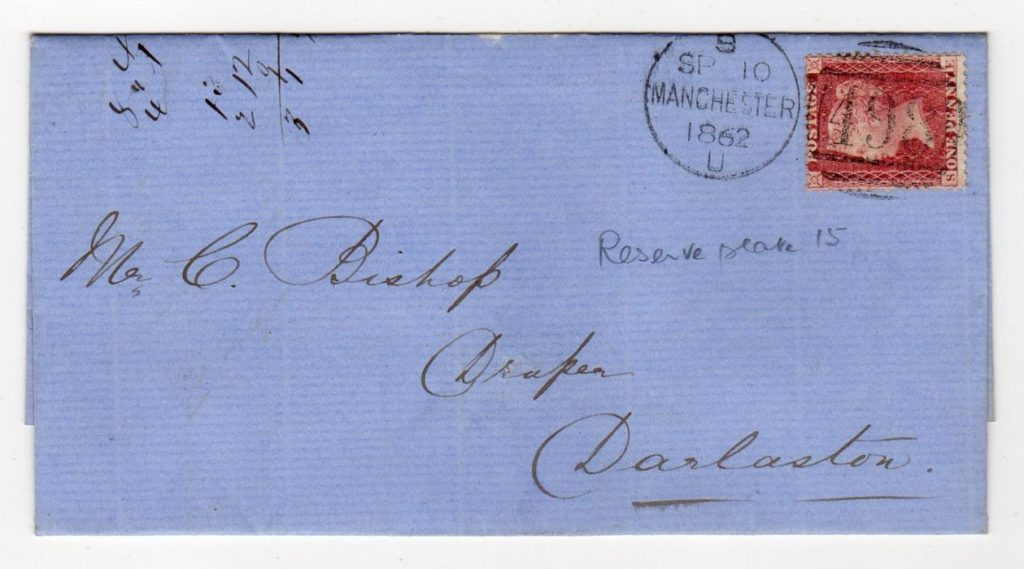 GB - MANCHESTER: 1862 PENNY RED COVER.