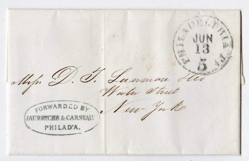 ST.KITTS: 1854 ENTIRE LETTER TO NEW YORK USING A FORWARDING AGENT.