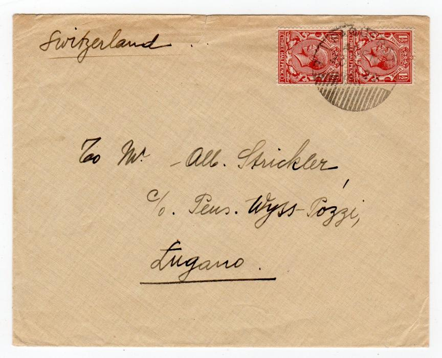 ADEN: 1922 COVER TO SWITZERLAND WITH A PAQUEBOT POSTMARK.