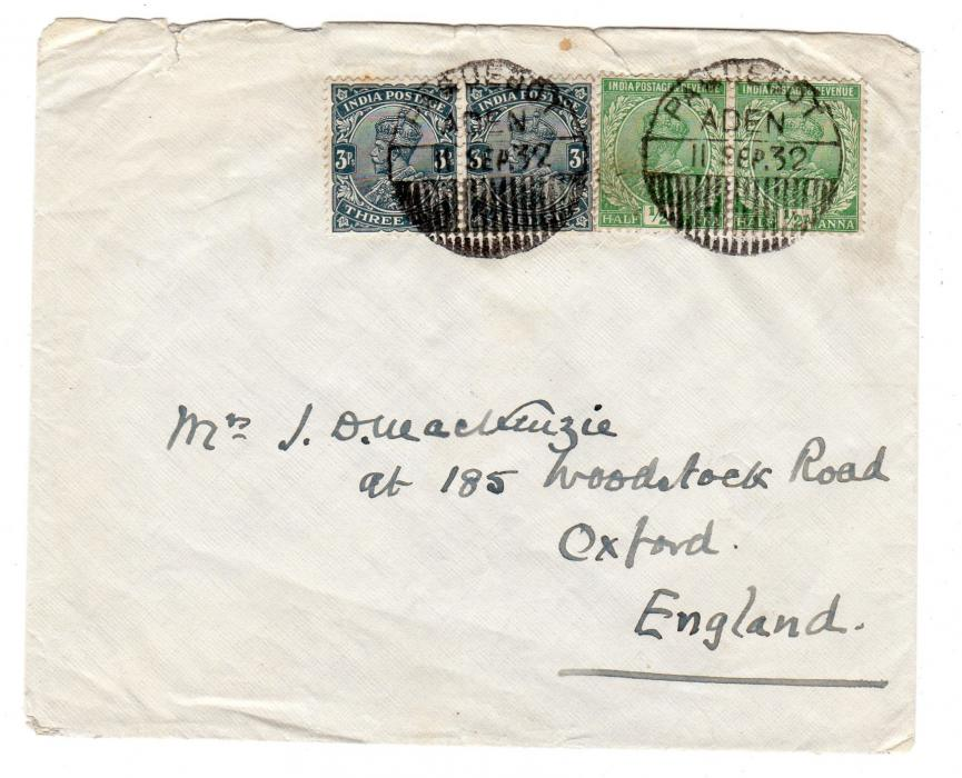 ADEN: 1932 COVER TO ENGLAND WITH PAQUEBOT POSTMARK.