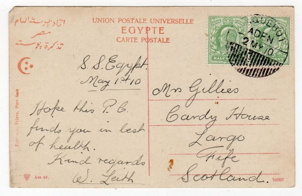 ADEN: 1910 PICTURE POSTCARD TO SCOTLAND WITH PAQUEBOT POSTMARK.