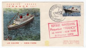 "FRANCE: 1962 INAUGURAL VOYAGE OF PAQUEBOT ""FRANCE"" COMMEMORATIVE COVER TO USA."