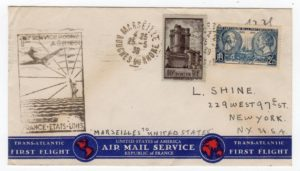 FRANCE: 1939 ILLUSTRATED FIRST FLIGHT COVER TO USA.