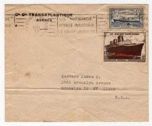 FRANCE: 1935 INAUGURAL VOYAGE OF SS NORMANDIE COMMEMORATIVE COVER TO USA.