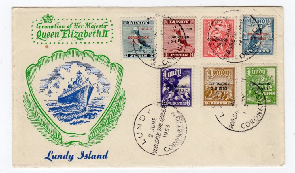 LUNDY ISLAND: 1953 ILLUSTRATED CORONATION FIRST DAY COVER.