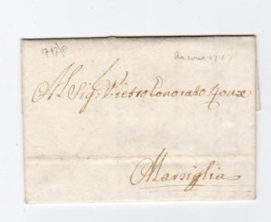 PAPAL STATES: 1747 PRE-STAMP ENTIRE TO FRANCE.