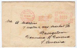 LIECHTENSTEIN: 1934 COVER TO BRITISH GUIANA WITH HASLAR METER MARK.