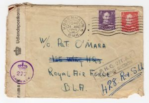 DENMARK: 1945 CENSORED COVER TO ROYAL AIR FORCE WITH TRACING SECTION CACHET.